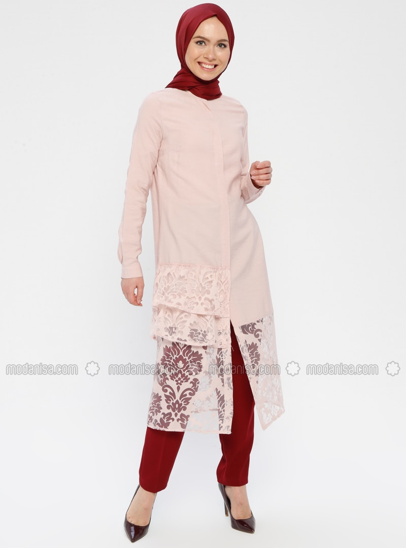 Powder - Floral - Button Collar - Tunic