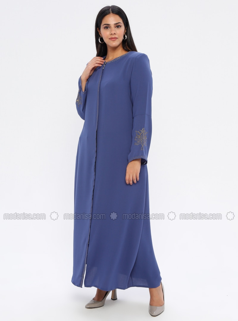 Indigo - Crew neck - Unlined - Plus Size Abaya