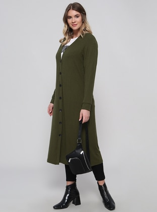 Khaki - V neck Collar - Plus Size Cardigan - Alia