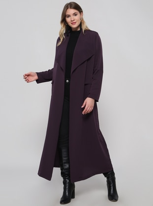Purple - Plum - Unlined - Shawl Collar - Plus Size Trench coat - Alia