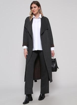Black - Plaid - Cotton - Plus Size Pants