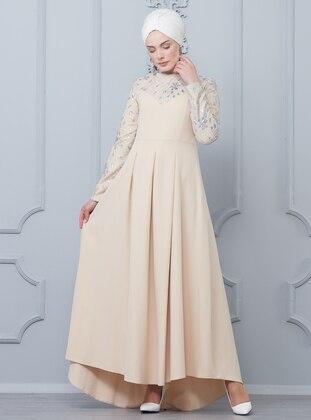 bc96e2479b077 Griter Kaplamalı Double Abiye Elbise - Krem