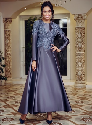 Anthracite – Fully Lined – Muslim Evening Dress – Fmk By Tuay Karaca