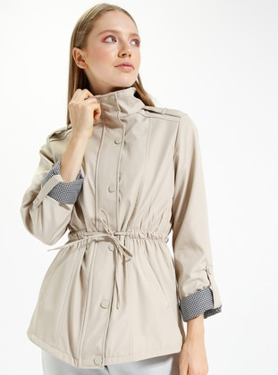 Beige – Fully Lined – Polo Neck – Trench Coat – Kakt??S