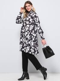 Black - Floral - Polo neck - Plus Size Tunic