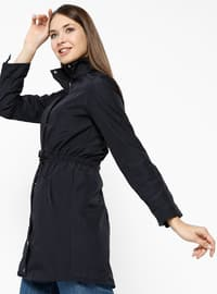 Navy Blue - Fully Lined - Crew neck - Trench Coat