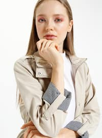 Beige - Fully Lined - Polo neck - Trench Coat