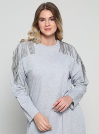 Gray - Crew neck - Plus Size Tunic