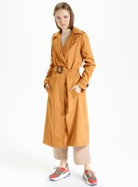 Mustard - Fully Lined - Shawl Collar - Trench Coat