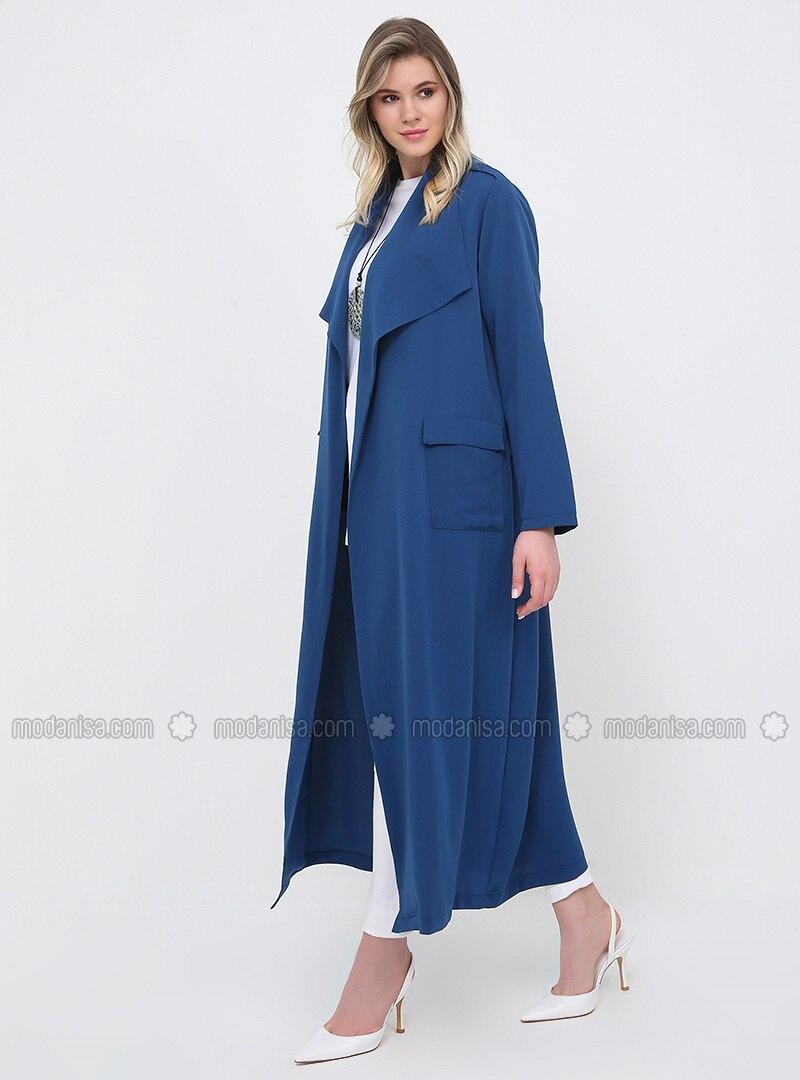 Blue - Navy Blue - Indigo - Unlined - Shawl Collar - Plus Size Trench coat