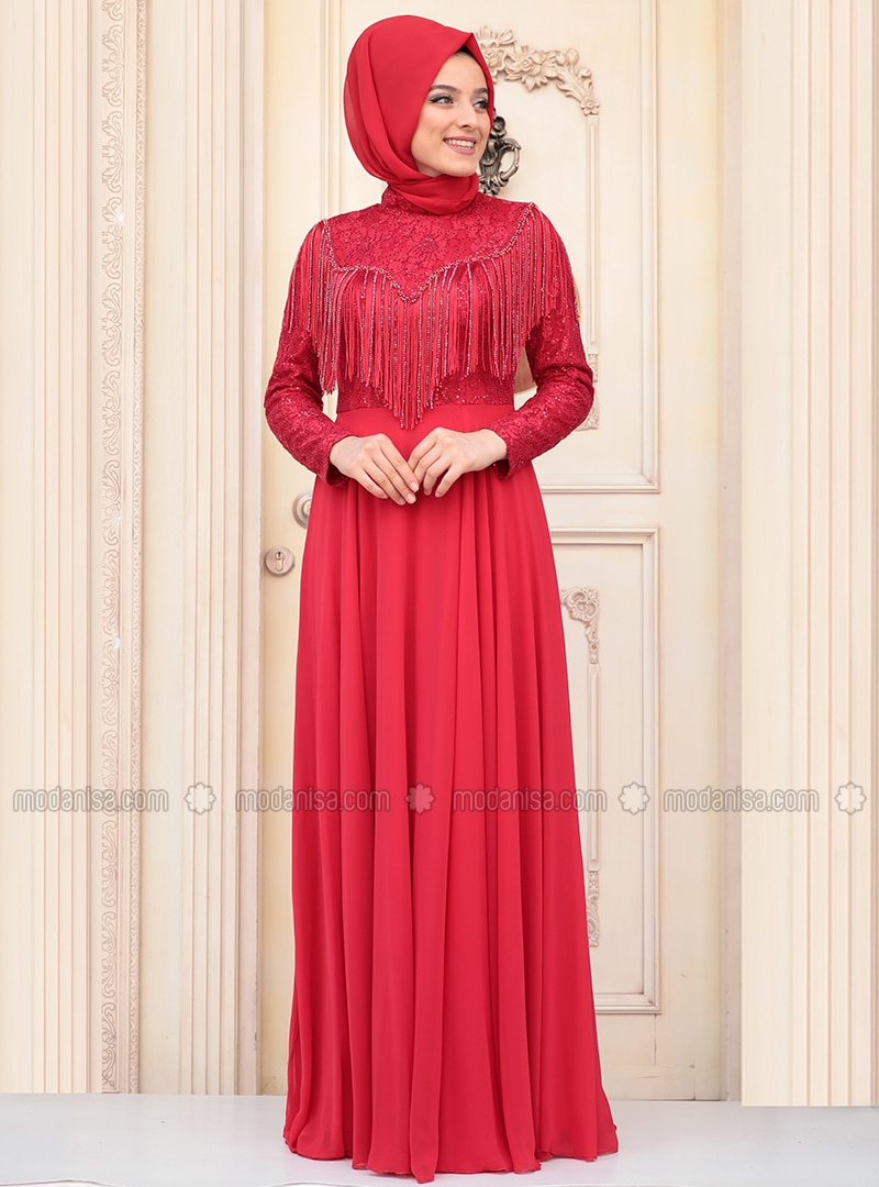 0f9e4ca8a008f Dantelli Abiye Elbise - Kırmızı