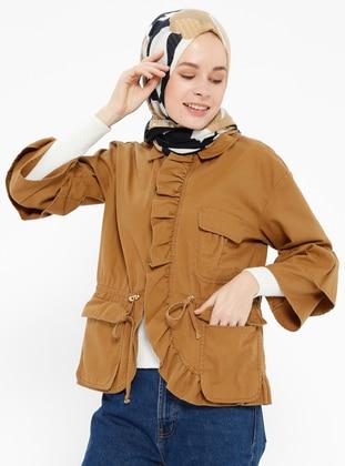 Gizli Düğmeli Ceket - Camel - İroni Ürün Resmi