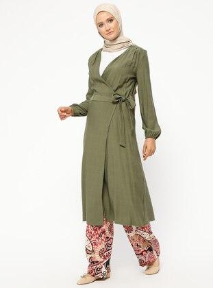 Khaki - Unlined - V neck Collar - Jacket