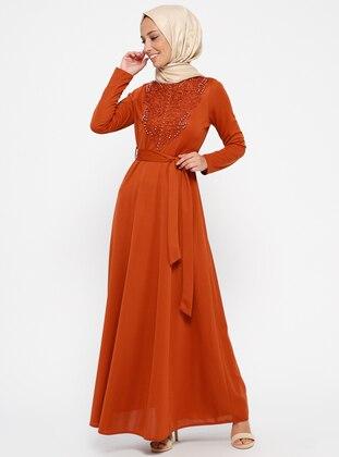 Laruj Güpür Detaylı Elbise - Kiremit