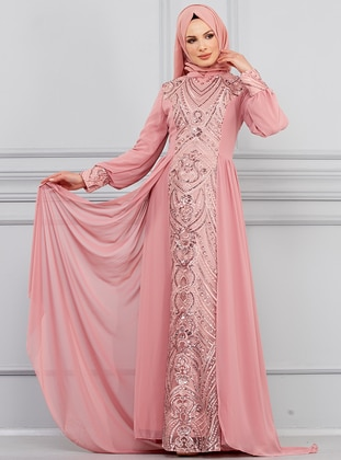 Dusty Rose - Unlined - Crew neck - Muslim Evening Dress - Butik Neşe