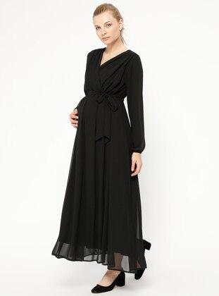 Black - V neck Collar - Fully Lined - Maternity Dress - Havva Ana