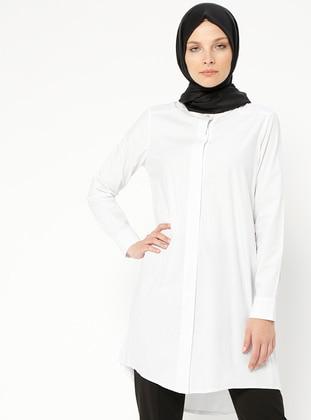 White - Ecru - Polka Dot - Button Collar - Tunic