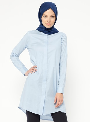 Blue - Polka Dot - Button Collar - Tunic