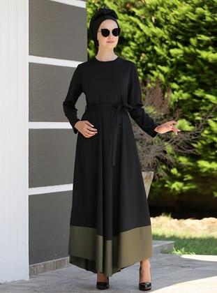 Black - Khaki - Crew neck - Unlined - Dresses