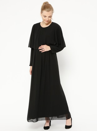 Black - Crew neck - Fully Lined - Maternity Dress - Havva Ana
