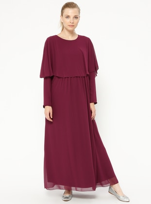 Plum - Cherry - Crew neck - Fully Lined - Maternity Dress - Havva Ana