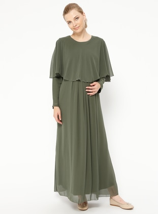 Green - Crew neck - Fully Lined - Maternity Dress - Havva Ana