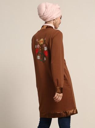 Brown - Unlined - Crew neck - Jacket