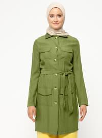 Khaki - Unlined - Point Collar - Jacket