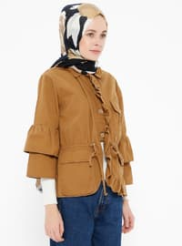 Camel - Unlined - Point Collar - Cotton - Jacket
