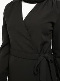 Black - Unlined - V neck Collar - Jacket