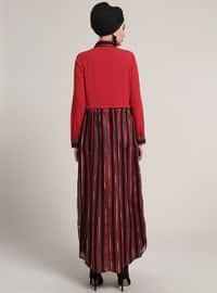Red - Stripe - Point Collar - Unlined - Dresses