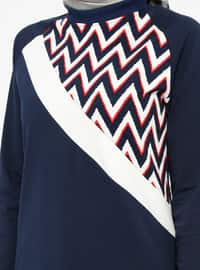 Navy Blue - Multi - Crew neck - Tracksuit Top