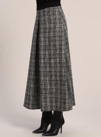 Black - White - Plaid - Unlined - Skirt