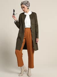 Khaki - Unlined - Crew neck - Trench Coat