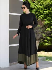 Siyah - Haki - Yuvarlak yakalı - Astarsız kumaş - Elbise