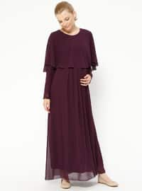 Plum - Crew neck - Fully Lined - Maternity Dress