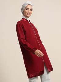 Maroon - Unlined - Crew neck - Jacket