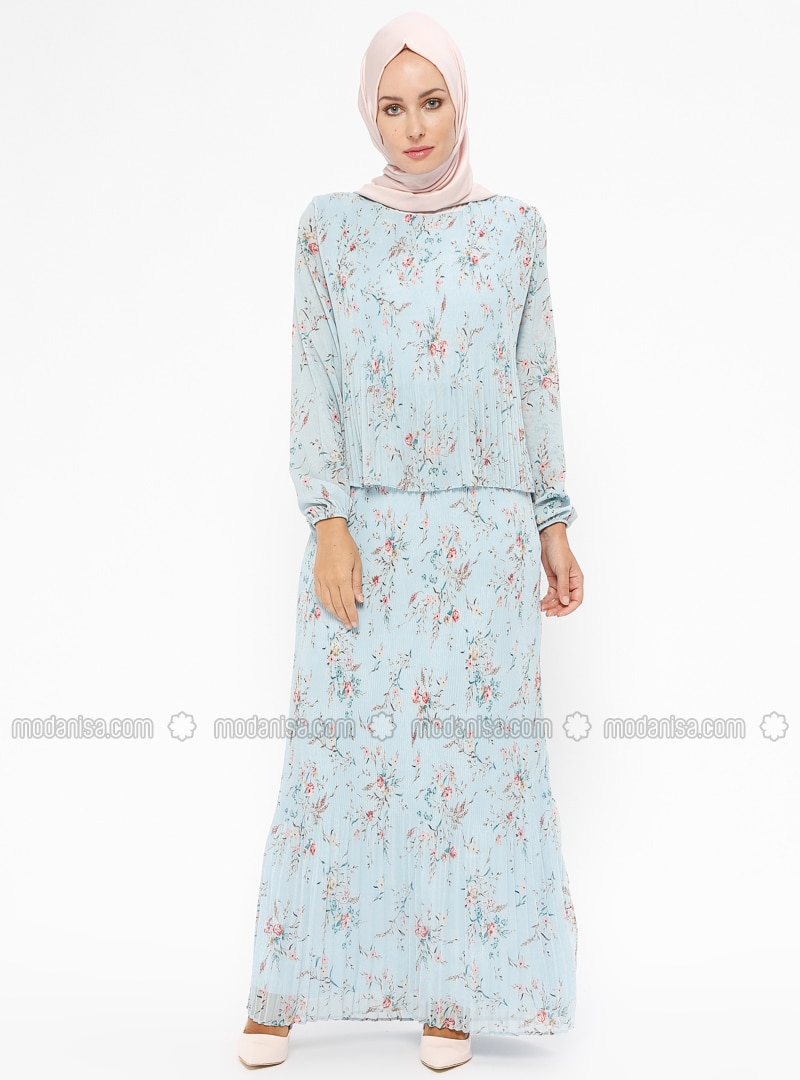 Blue - Coral - Multi - Fully Lined - Crew neck - Muslim Evening Dress