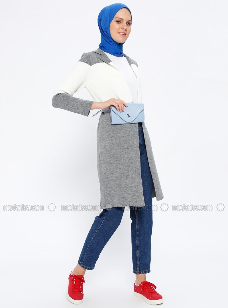Gray - Ecru - Point Collar - Cardigan