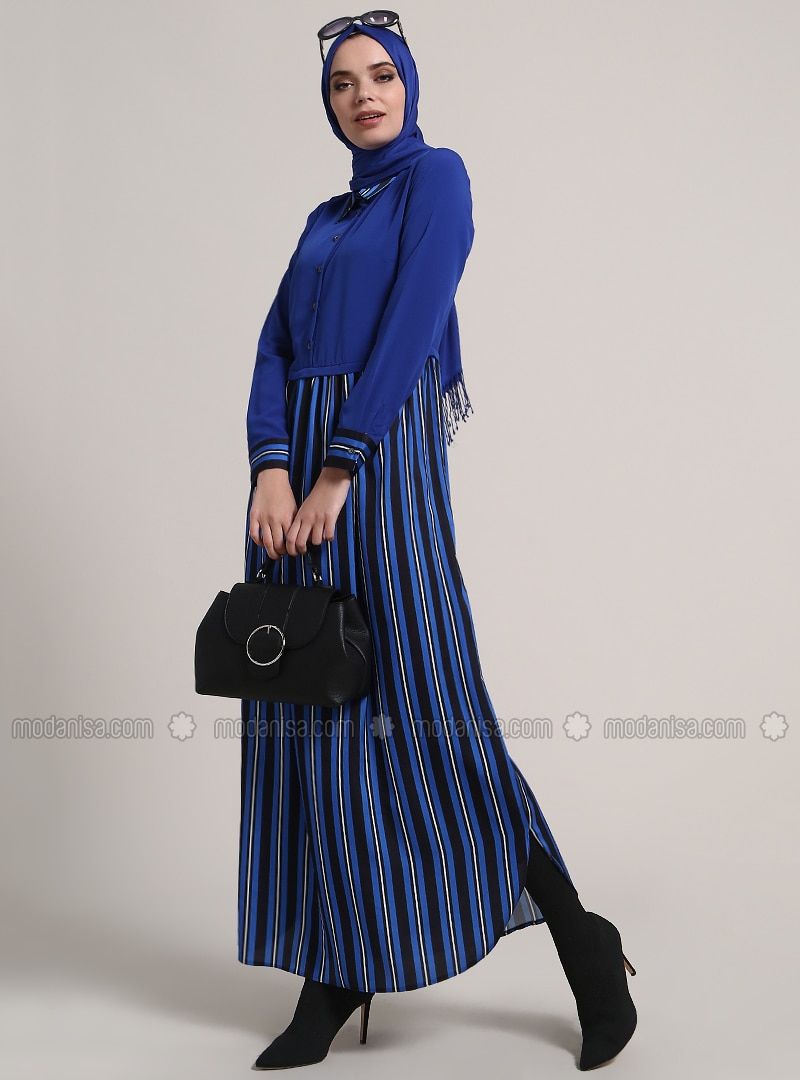 Saxe - Stripe - Point Collar - Unlined - Dresses