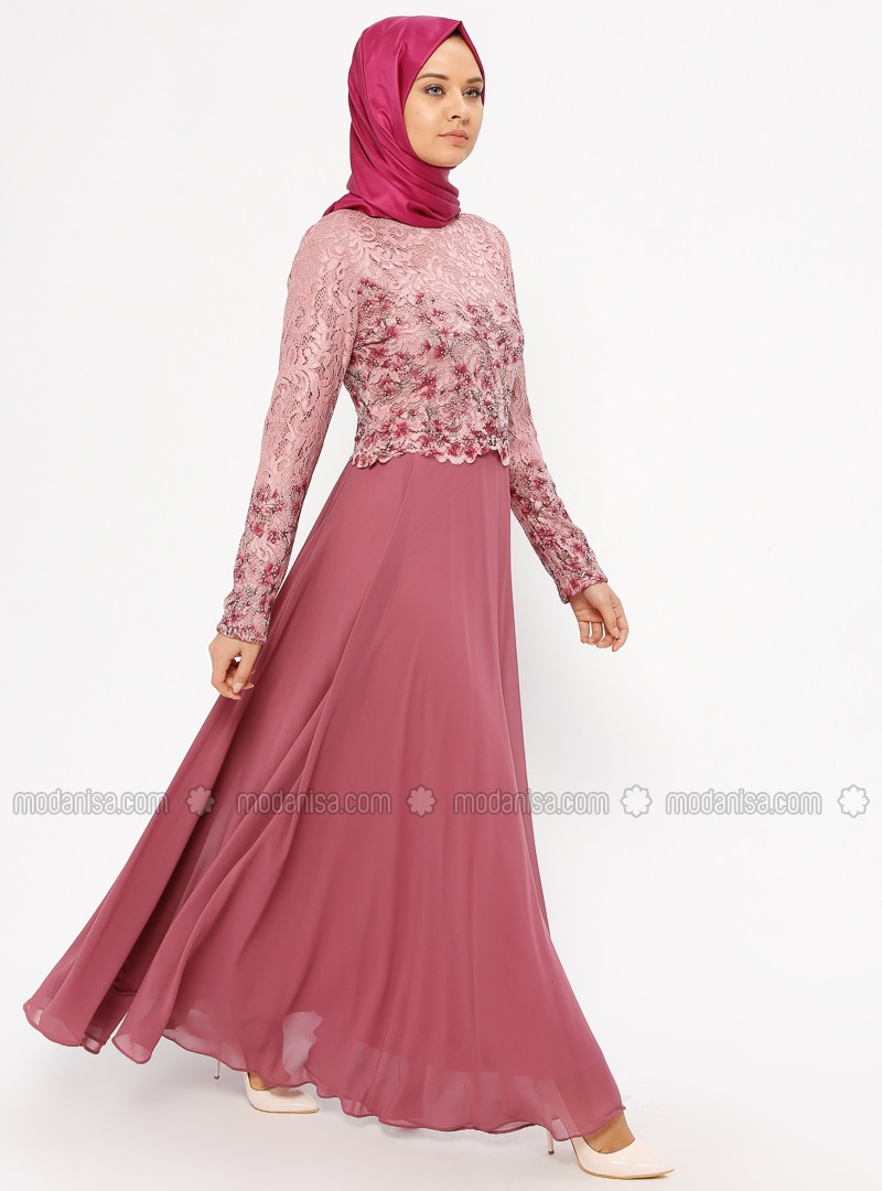 56cb3576729 Ecru - Dusty Rose - Fully Lined - Crew neck - Muslim Evening Dress