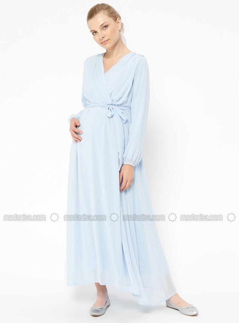Blue - Baby Blue - V neck Collar - Fully Lined - Maternity Dress