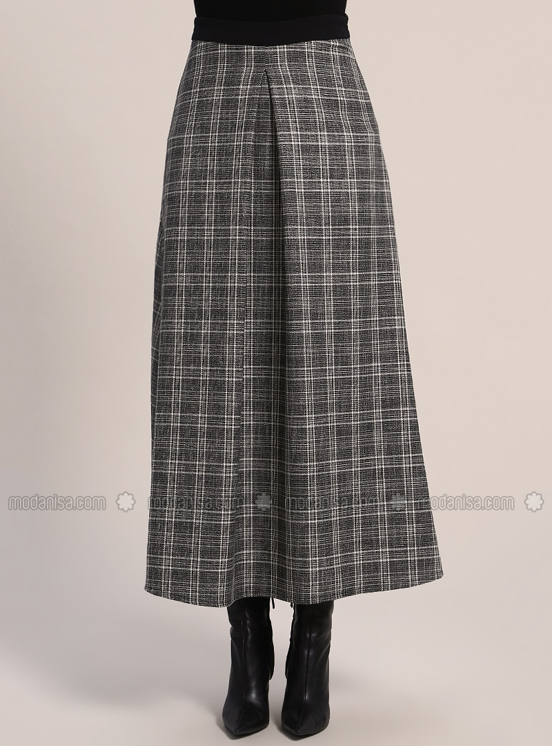 fast delivery sale buy cheap Black - White - Plaid - Unlined - Skirt