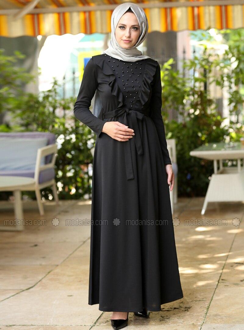 7f51650454017 İnci Detaylı Elbise - Siyah