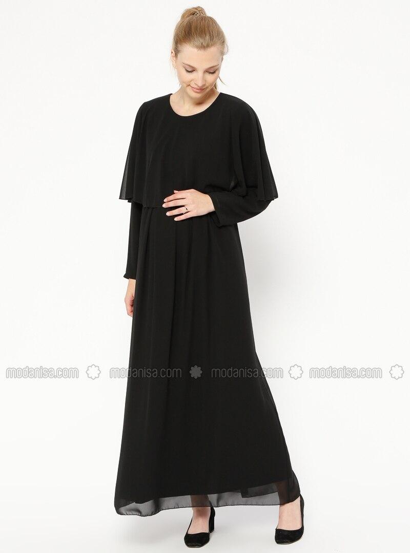 Black - Crew neck - Fully Lined - Maternity Dress