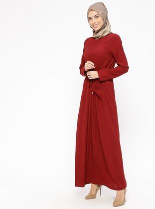 Beli Lastikli Elbise - Bordo - Miss Paye Ürün Resmi