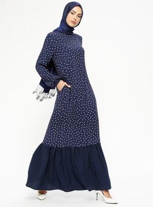 b42d5c1040ddb أزرق داكن - منقطة - قبة مدورة - نسيج غير مبطن - فستان