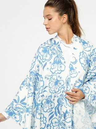 Blue - Multi - Unlined - Poncho