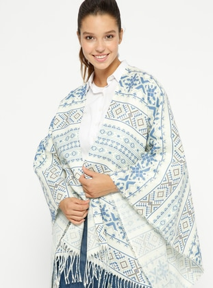 Blue - Multi - Unlined - Poncho - GINA LOREN