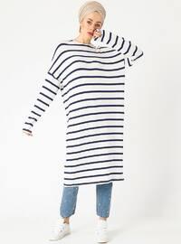 Ecru - Stripe - Crew neck - Tunic